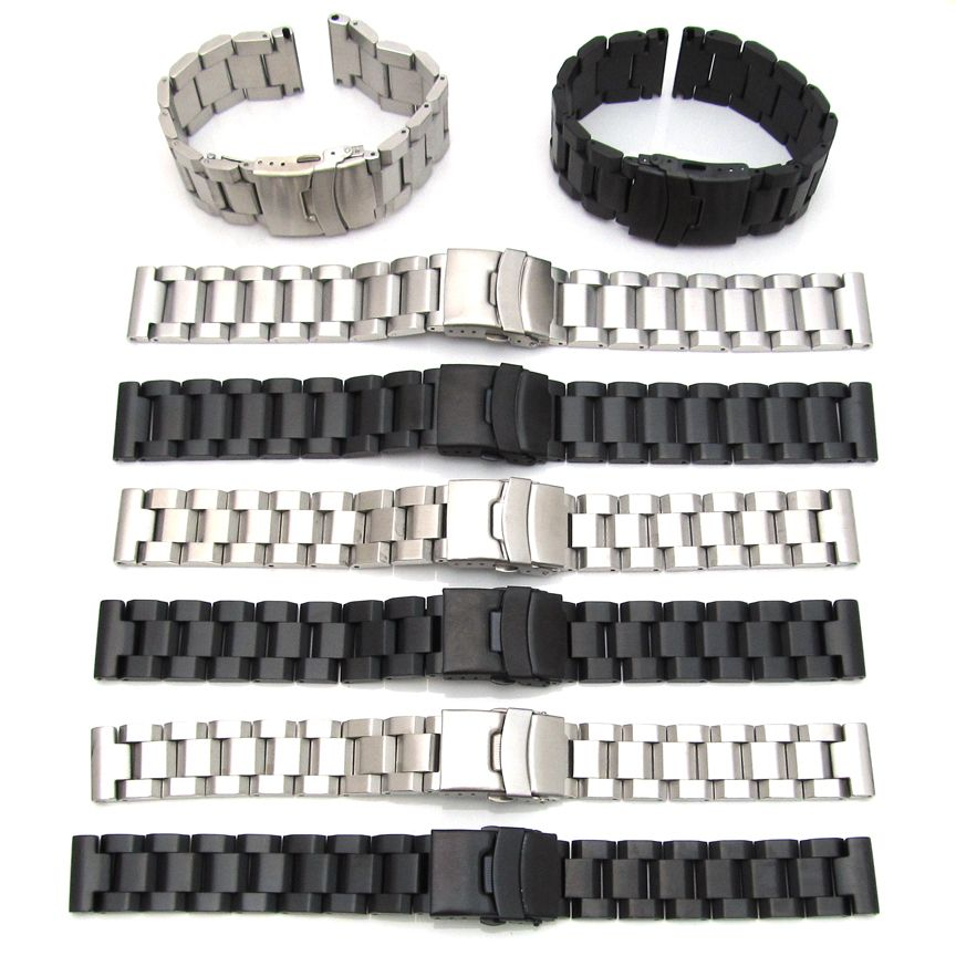 Mens Watch Strap Bracelet Stainless Steel Band Deployment